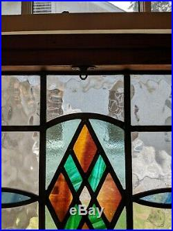 PAIR ENGLISH STAINED GLASS LEADED WINDOW 28 x 20 withOriginal Sash Double Hung