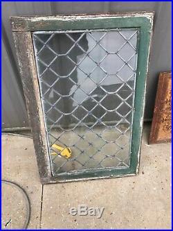PA 37 Antique leaded glass transom window 23 x 34.5