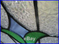 PJ137 Beautiful Transom Leaded Stained Glass Window F/England Reframed 30 X 17