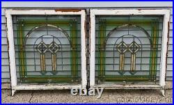 Pair Antique 1920's Chicago Bungalow Style Stained Leaded Glass Window 34 x 30