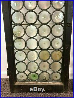 Pair Antique French Rondel Bottle Glass Leaded Stained Glass Panel Door Window