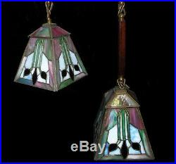 Pair Antique Stickley Era Mission Arts & Crafts Leaded Glass Shades Lights Lamps