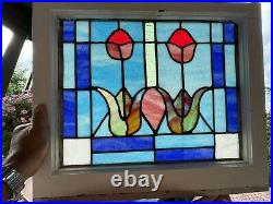 Pair Of Large Antique Victorian Stained Leaded Glass Arts & Crafts TULIP Window