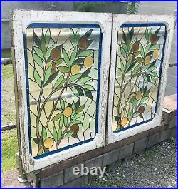 Pair Of Victorian Leaded Stained Glass Windows