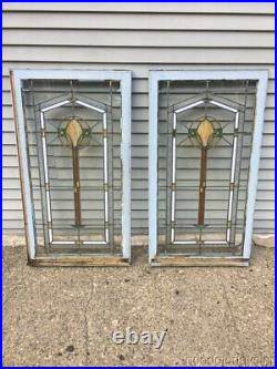 Pair of 1920s Chicago Bungalow Style Stained Leaded Glass Windows / Door 45 25