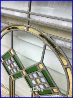 Pair of Antique 1920's Chicago Bungalow Stained Leaded Glass Window 34 x 24