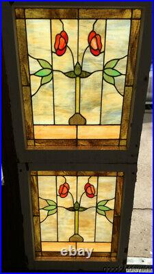 Pair of Antique 1920's Stained Leaded Glass Windows 29 by 24