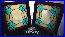 Pair of Antique Stained Leaded Glass Windows with Jewels Circa 1900 23 by 22
