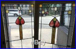 Pair of Beautiful Antique 1920's Stained Leaded Glass Doors / Windows