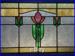 Pair of Wonderful Stained Leaded Glass Transom Windows 44 by 23 Circa 1920
