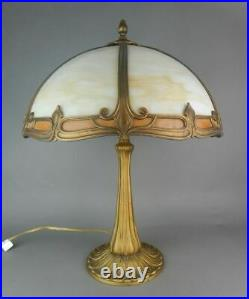 Pairpoint Art Nouveau Leaded Glass Panel Lamp Circa 1920 SIGNED