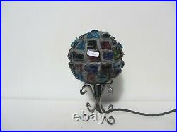 Peter Marsh Table Lamp Leaded Stained Glass Rocks 1950's Mid Century Light Iron