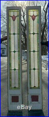 Pr Antique Leaded Flower Stained Glass Side lights 12X84 Door Window Vtg 65-20J