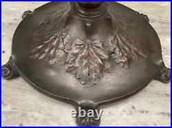 Rare Antique Reed & Barton Leaded Glass Bronze Lamp, Handel Era