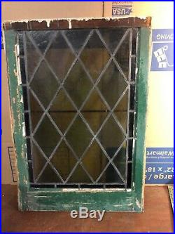 Rare Antique Vintage Architectural Leaded Window Stained Glass 20 by 28 1/2