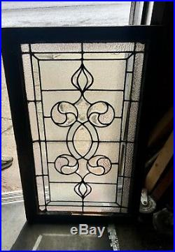 Rare Art Nouveau Old Architectural Heavy Beveled Leaded Glass Window Mansion