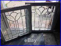 Rare & beautiful Pair Of Deco Tulip Leaded Glass Windows All Heavy Bevel 1930's