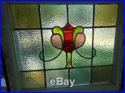 S279 LARGE Lovely Leaded Stain Glass Window F/England 30 X 25 3/4 2 Available