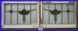 SET OF 3 OLD ENGLISH LEADED STAINED GLASS WINDOWS Lovely Roses 24.5 x 18.5each