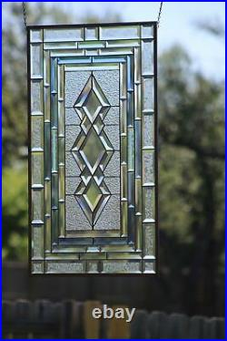 SPECTRUM Beveled Stained Glass Window Panel-Sidelight /Transom-34 7/8-18 3/4