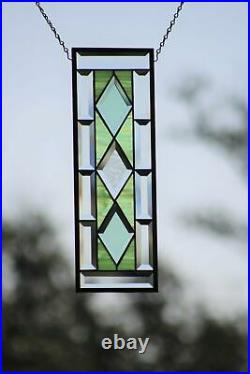 Seafoam Green Beveled Stained Glass Window Panel, Ready to Hang 19.5x6.5