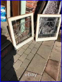 Sg 3285 Match Pair Antique leaded glass fire side windows 24.25 x 25