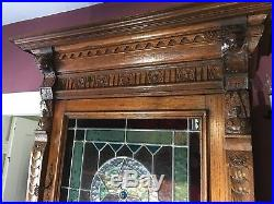 Spectacular Pair of Antique French Breton Leaded Glass Oak Cabinets ca. 1920's