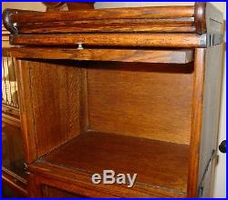 Stacked barrister bookcase rare half size quartered oak leaded glass-15505