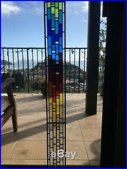 Stained Glass Window Panel, Leaded Stained Glass Panel Four Seasons 39 X 4.5