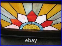 Stained Glass Window Vintage Frame Art Deco Sun Sunburst