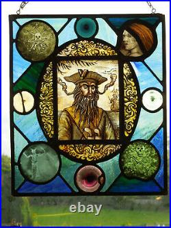 Stained Glass Window of Black Beard 18th Century Pirates of the Caribbean