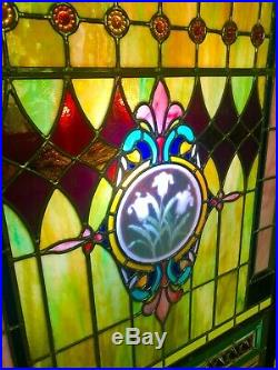 Stunning Antique Leaded Stained Glass Church Window Circa 1903