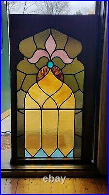 TREMENDOUS GOTHIC STAINED GLASS CHURCH WINDOW, FLEUR DE LIS, 1 JEWEL, LATE 1800s
