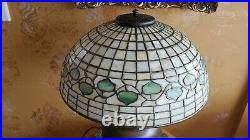 Tiffany Studios Leaded Slag Glass Acorn Shade, Rookwood Pottery Lamp Base