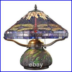 Tiffany dragonfly 14 in. Bronze table lamp with mosaic base stained glass desk