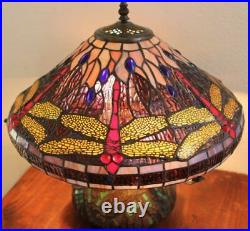 Tiffany-style Dragonfly Table Lamp with Mosaic Base 16 Shade