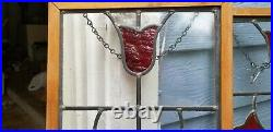 Tulip Design Stained Glass Window Panel Set of two antique vintage large leaded