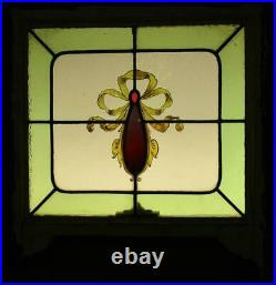 VICTORIAN ENGLISH LEADED STAINED GLASS WINDOW Hand Painted Ribbons 22 x 19.5