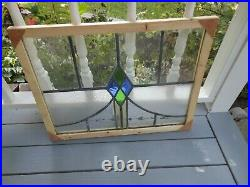 V-1048 Beautiful Transom Style Leaded Stained Glass Window F/England Reframed