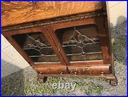 Victorian Oak Drop Front Desk, Lions And Leaded Glass Doors