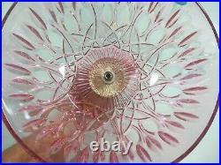 Vintage 17' Michelotti Cranberry Lead Crystal Glass Prism Boudoir Table Lamp