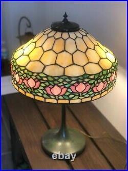 Vintage Antique Leaded Apple Blossom Lamp Unique Glass Tiffany Era Patina Base