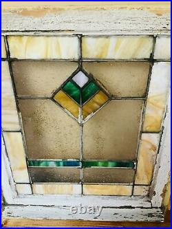 Vintage / Antique Leaded Stained Glass Window, Abstract/Architectural