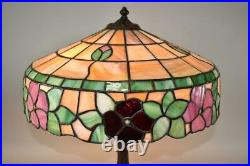 Vintage Chicago Mosaic Leaded Glass Table Lamp