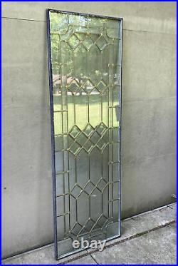 Vintage ClearVue Leaded Glass Door Insert Replacement Panel Brass 64x22 Window