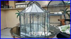 Vintage Huge Tiffany Style Plant Atrium Terrarium Hand Made Lead + Glass Birds