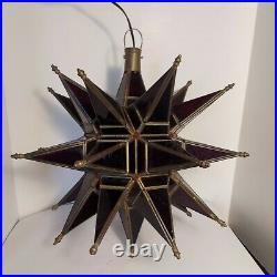 Vintage Leaded Glass Star Burst Hanging Light Fixture Pendant Ceiling Atomic