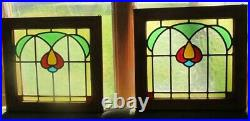 Vintage Original Stained Glass Windows Matching Pr Custom Oak Frame 14x13-1/2