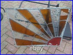 Vintage Original Sunburst Leaded Glass / Stained Glass Window Pane