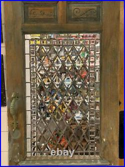 Vintage Pantry Door with Leaded Glass and Seahorse Handle